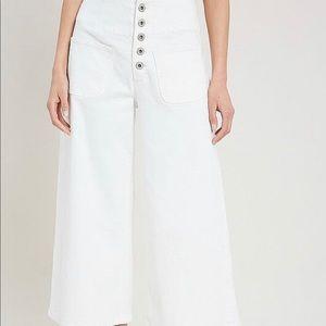 White Denim Wide Leg Jeans - Med